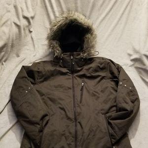 Obermeyer dark green ski jacket w/ faux fur hood